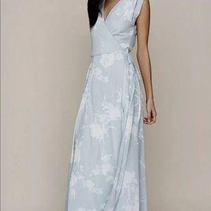 Yumi Kim light blue white Floral Maxi Wrap Dress S